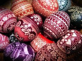 dekorativa mångfärgade polska påskägg foto