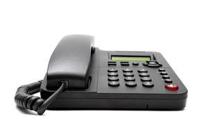 svart telefon isolerad på vit bakgrund foto