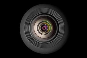 mobil kameralins på svart bakgrund foto