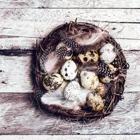 påskkorg med ägg på träbakgrund. foto