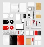 produkter som märker mockupmall, grå bakgrund foto