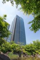 färska gröna och höghus i Tokyos centrum foto