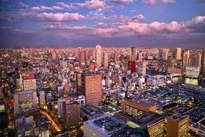 solnedgång i centrum av tokyo foto