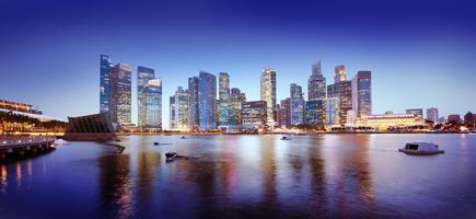 stadsbild singapore panoramautsikt över natt foto