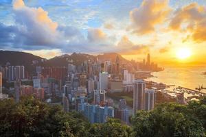 hdr: solnedgång i Hong Kongs stadshorisont foto