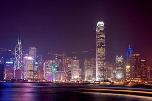 victoria hamn på natten, Hong Kong Kina foto