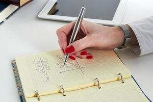affärskvinna gör matematiska beräkningar foto