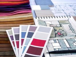 heminredning och planering av renoveringsplanering foto