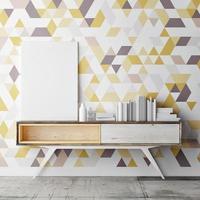 håna upp affischen på den dekorativa geometriska väggen, 3d-illustration foto