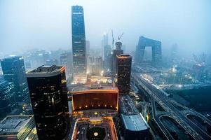 stadens skyline för skymning av Beijing Guomao, huvudstaden i Kina foto