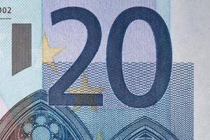 20 eurosedlar på nära håll foto