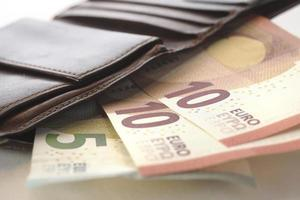 euro och plånbok foto