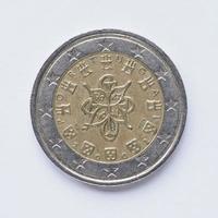 portugisiska mynt på 2 euro foto