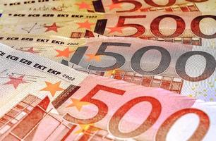 eurosedlar, fem hundra, närbild foto