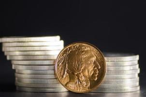 USA: s guldbuffel framför silvermynt foto