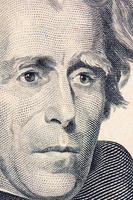 ansiktet på jackson dollarn räknas makro foto
