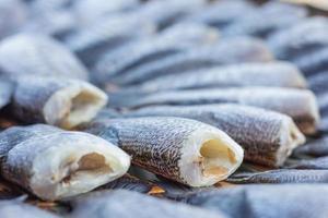 torkade fiskar av lokal mat på öppen marknad foto
