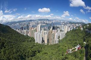 Flygvyn med vidvinkel till Hong Kong City, Kina. foto