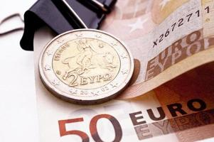 grekiska euromynt foto