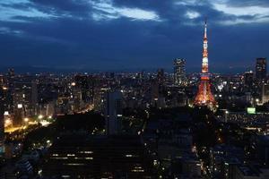 natt utsikt över tokyo foto