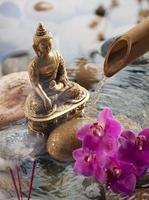 erbjudande till religiös buddha i vattenmiljö foto
