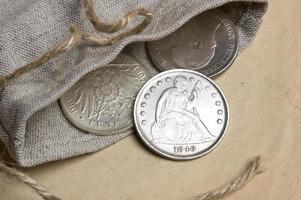 gammal silver usa dollar foto