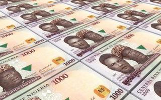 nigerianska nairas räkningar staplar bakgrund. foto