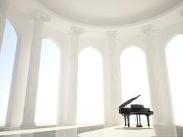 piano i den klassiska interiören med kolumner foto