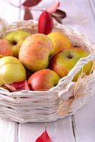 färska mogna äpplen i korgen foto