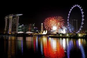 fyrverkerier i singapore foto