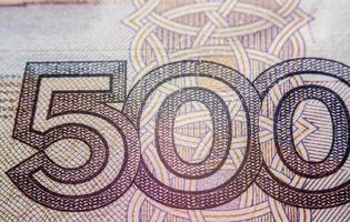 femhundra ryska rubelräkning, makrofotografering foto