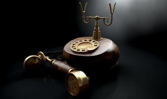 vintage telefon mörk från kroken foto