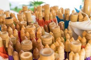 thailändsk handgjord bambuproduktion foto