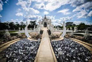 Wat Rong khun vita templet, Chiang Rai, Thailand foto
