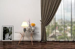 vit inredning med stort fönster. Illustration 3d foto