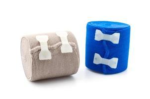 elastiskt bandage isolerad vit bakgrund foto
