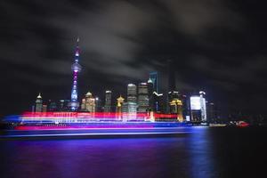 natt utsikt över Shanghai foto