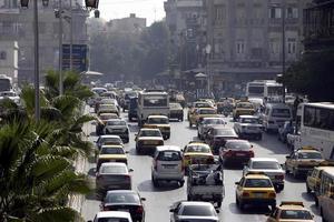 Syrien Damaskus stadstrafik foto