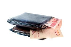 gammal svart plånbok med kreditkort foto