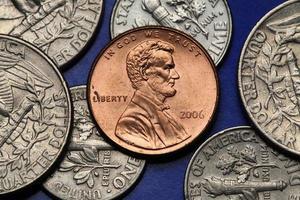 mynt av usa. oss cent. Abraham Lincoln foto