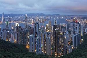 Hong Kong Island och Victoria Harbour beskådad från toppen foto