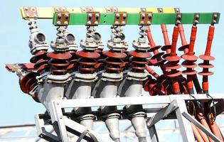 elektriska kopparplintar i ett kraftverk foto