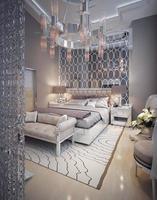 lyxigt sovrum art deco-stil foto