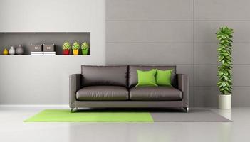 brun soffa i ett modernt vardagsrum foto