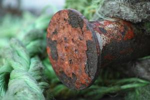 grönt rep och rostig metall foto