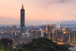 Taipei, Taiwan horisont vid skymningen