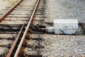 järnvägsspår och spårväxel foto