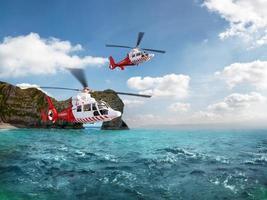 två röda räddningshelikopterflyg