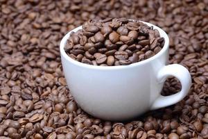 kopp med kaffekorn på en kaffebönor bakgrund foto