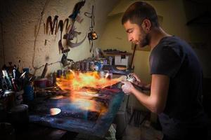 målning med eld